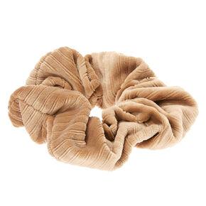 Medium Ribbed Velvet Hair Scrunchie - Taupe,