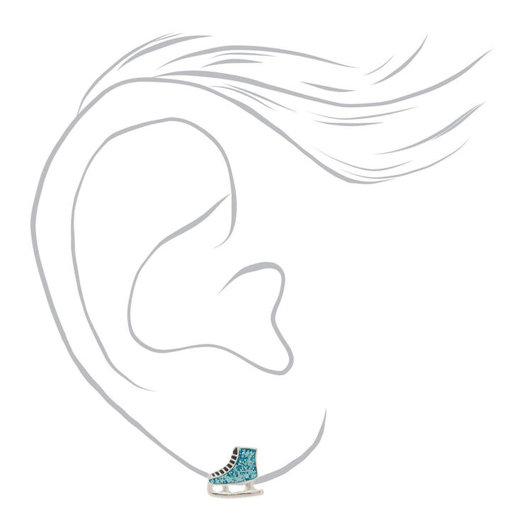 Glitter Ice Skate Stud Earrings - Blue,