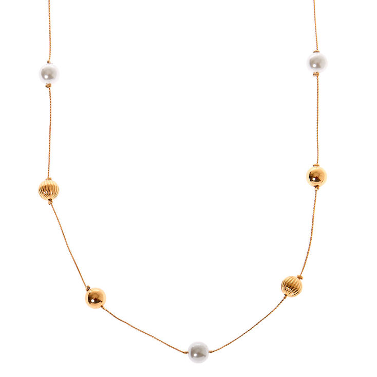 Gold Beaded Pearl Long Necklace - Ivory,