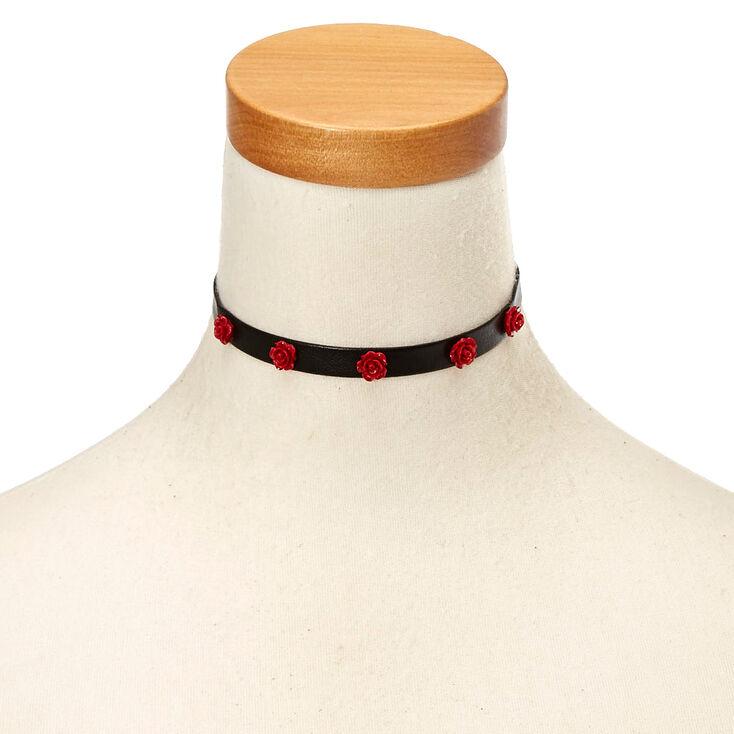 Red Rose Choker Necklace - Black,