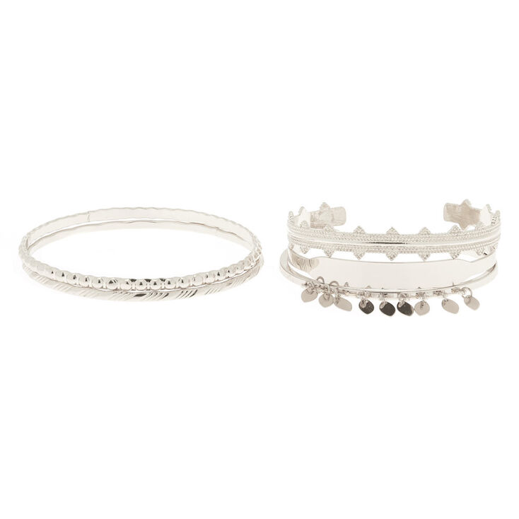 Silver Festival Bangle Bracelets - 5 Pack,