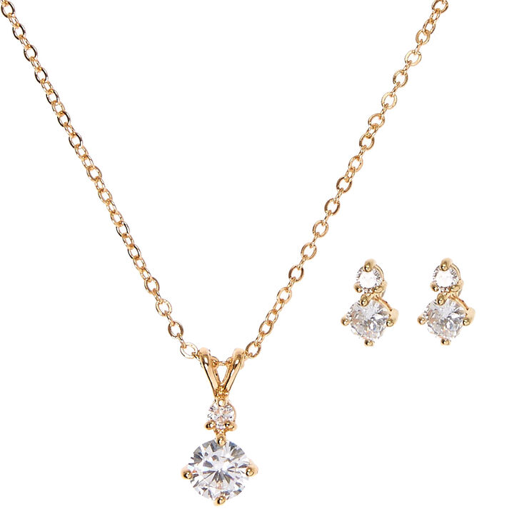 Gold Cubic Zirconia Drop Pendant Necklace & Earrings Set,