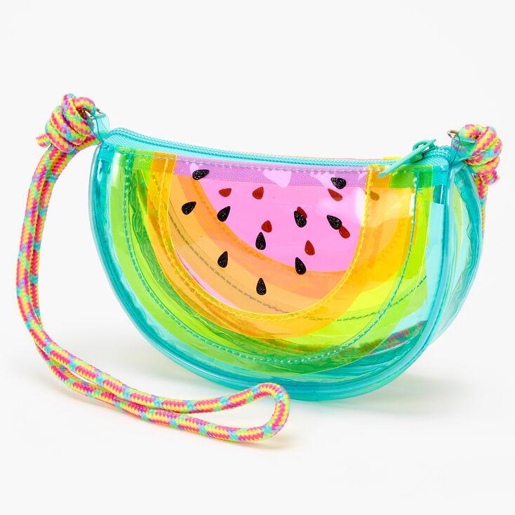 Claire's Club Transparent Watermelon Crossbody Bag - Rainbow,