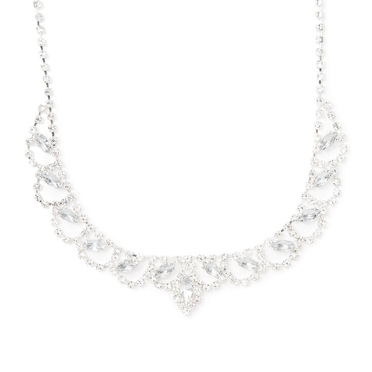 Rhinestone Marquis Crystal and Scallop Bib Necklace,