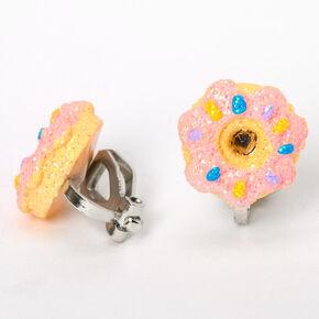 Silver Glitter Donut Clip On Stud Earrings - Pink,