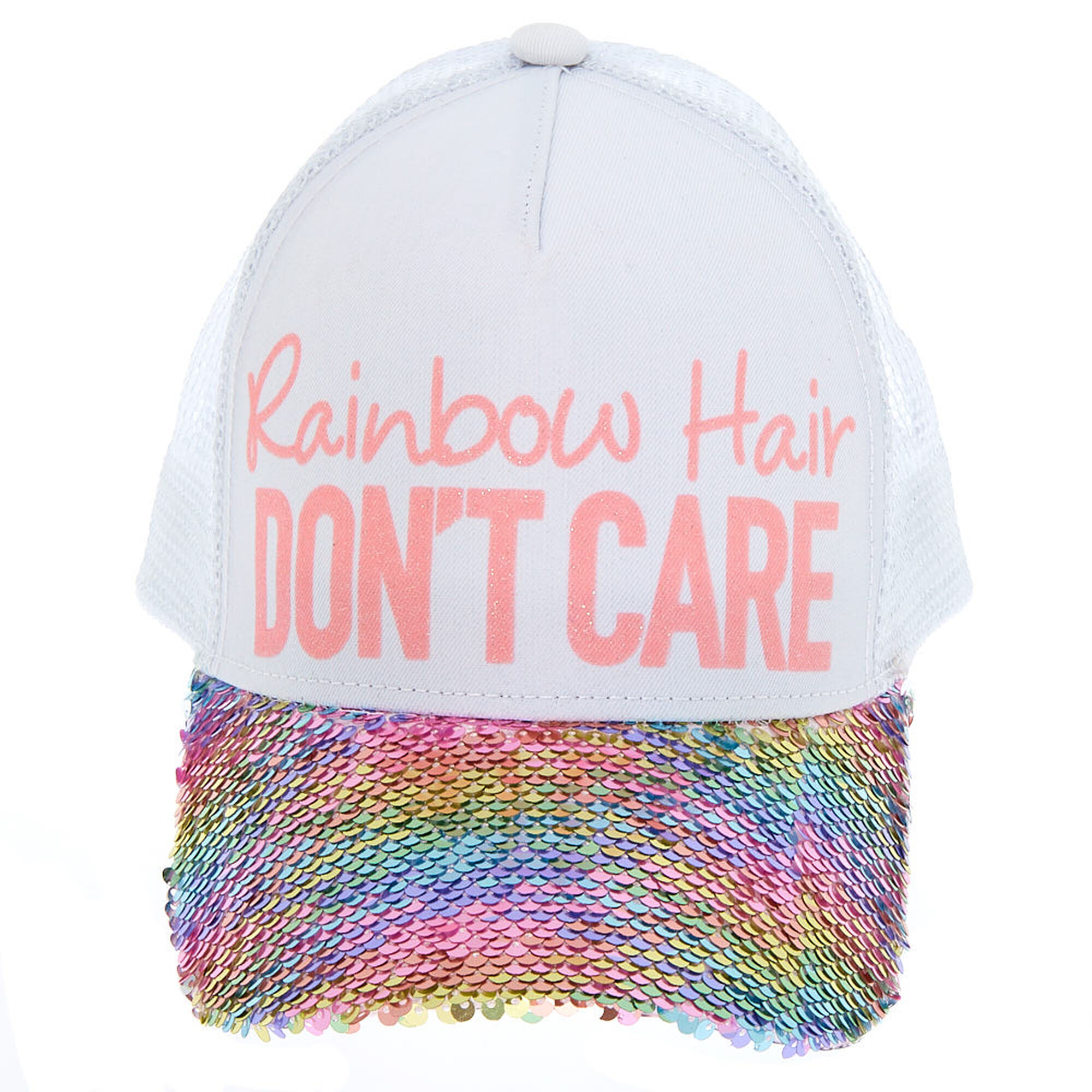 a2e45767b Rainbow Hair Don't Care Reversible Sequin Trucker Hat | Claire's US