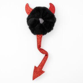 Medium Plush Devil Horns & Tail Hair Scrunchie - Black,