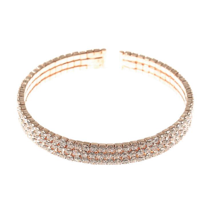Rose Gold Gl Rhinestone Cuff Statement Bracelet