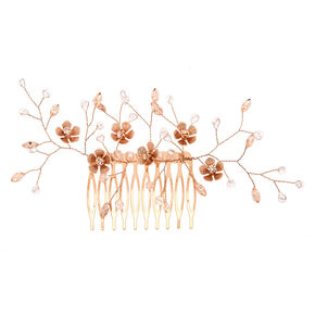 Rose Gold Floral Hair Comb,