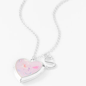 Claire's Club Glitter Unicorn Initial Locket Necklace - Pink, S,