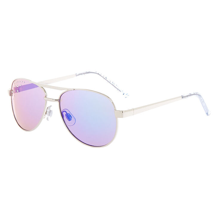 b52b9f98d1 Claire  39 s Club Glitter Aviator Sunglasses - Silver