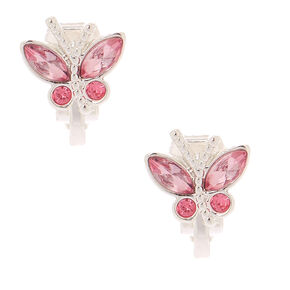 Butterfly Clip On Earrings - Pink,