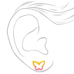 Clous d'oreilles contour papillon couleur argentée - Jaune/rose,