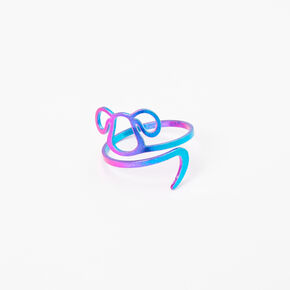 Rainbow Anodized Outline Dog Ring,