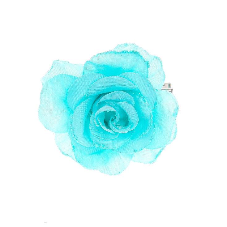 Barrette avec rose bleue à paillettes,