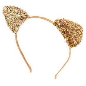 ac330113210 Iridescent Glitter Cat Ears Headband - Gold