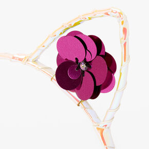 Holographic Sequin Flower Cat Ears Headband - Purple,