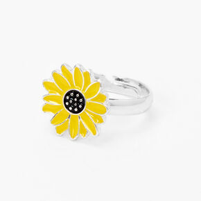 Silver Sunflower Ring - Yellow,