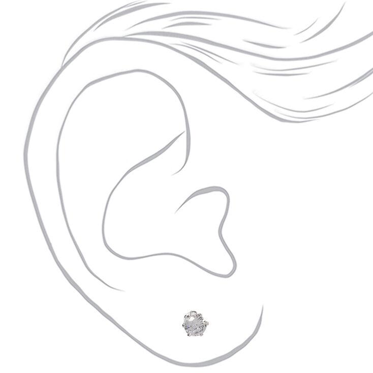 Silver Cubic Zirconia Round Stud Earrings - 3MM, 5MM, 7MM,