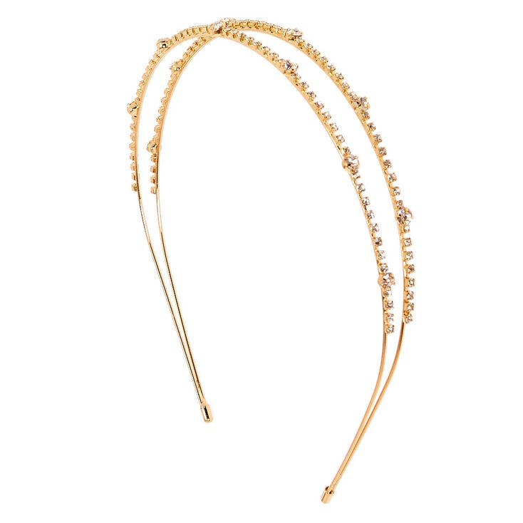 Gold-tone Crystal Lined Double Row Headband,