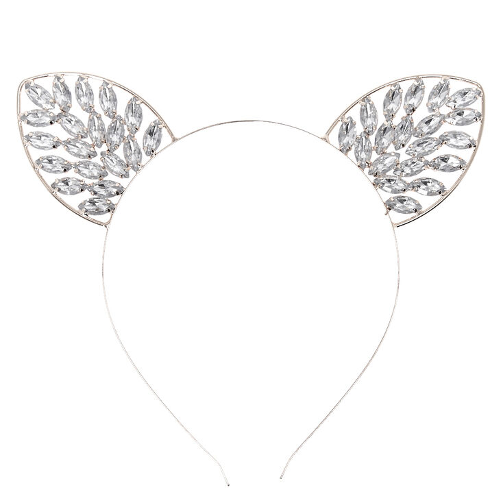 Headband en forme d'oreilles de chat bling-bling hématite d'imitation,