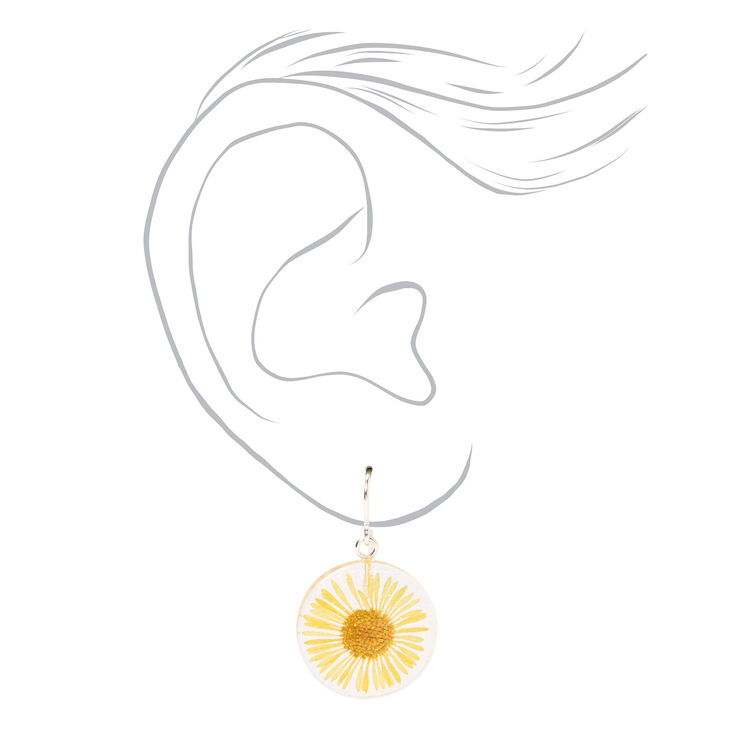 """Silver 1"""" Sunflower Drop Earrings - Yellow,"""