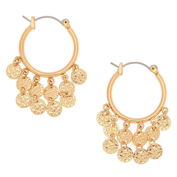 43762dee3ec0f5 Gold 20MM Disc Hoop Earrings | Claire's