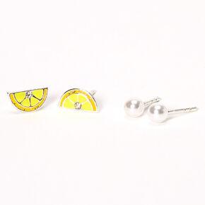Sterling Silver 4MM Lemon Pearl Stud Earrings - 2 Pack,