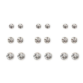 Silver Graduated Crystal Bezel Stud Earrings - 9 Pack,