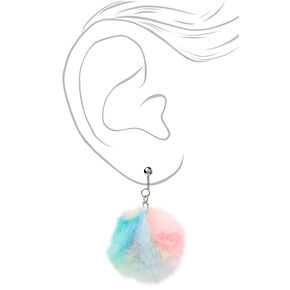 "Silver 1.5"" Rainbow Pastel Pom Pom Clip On Drop Earrings,"