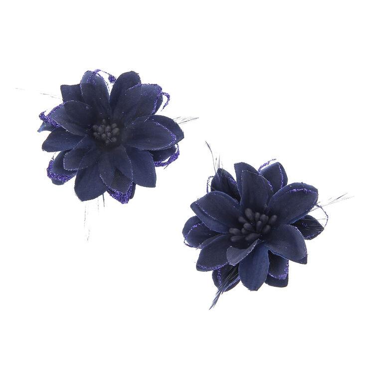 2 Pack Navy Flower Hair Clips