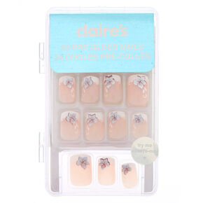 Floral French Tip Square Faux Nail Set - 24 Pack,
