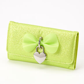 Glitter Bow Heart Charm Wallet - Lime,