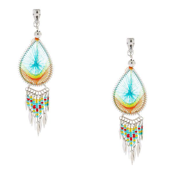 """Claire's - silver 3"""" threaded teardrop clip on drop earrings - 1"""