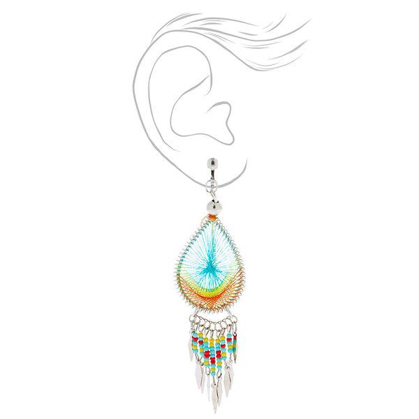 """Claire's - silver 3"""" threaded teardrop clip on drop earrings - 2"""