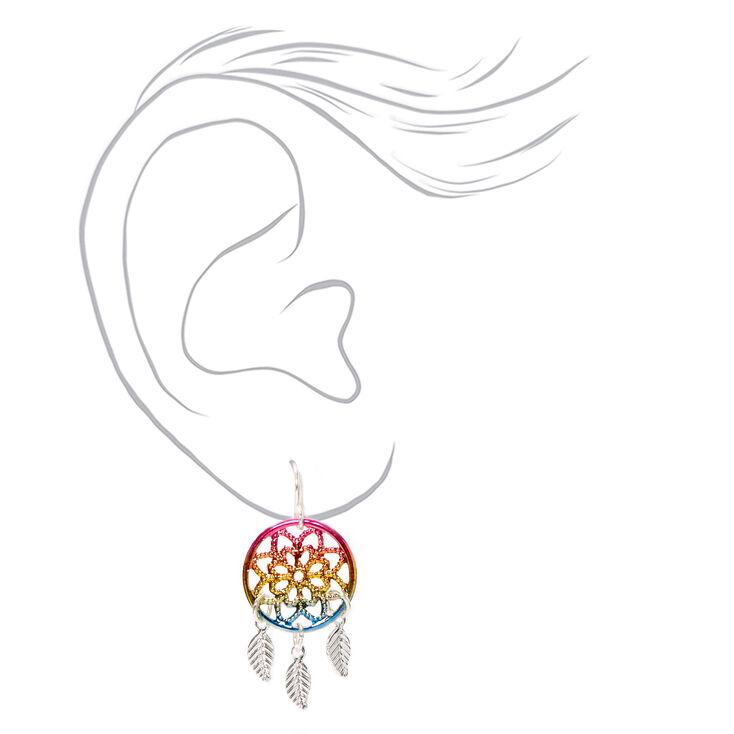 """Silver 1.5"""" Rainbow Ombre Dreamcatcher Drop Earrings,"""