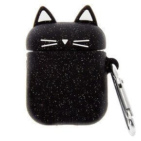 Glitter Black Cat Silicone Earbud Case Cover - Compatible With Apple AirPods,