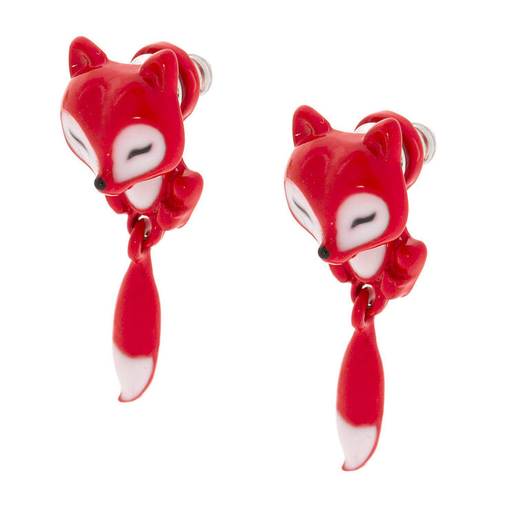 Claire's Small Red Fox Front & Back Earrings