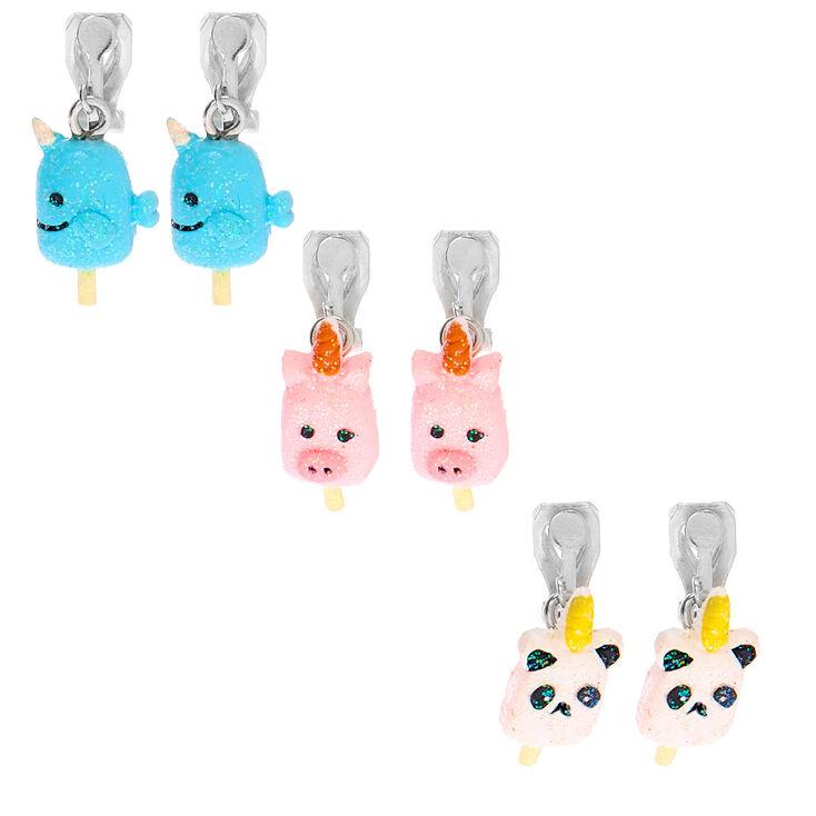 Unicorn Popsicle Clip On Earrings - 3 Pack,