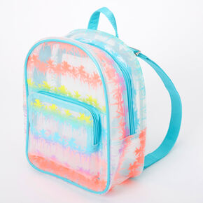 Transparent Rainbow Palm Tree Small Backpack - Clear,