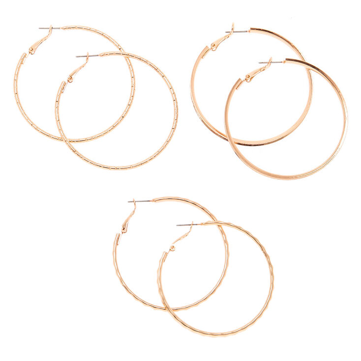 Rose Gold 50mm Hoop Earrings 3 Pack
