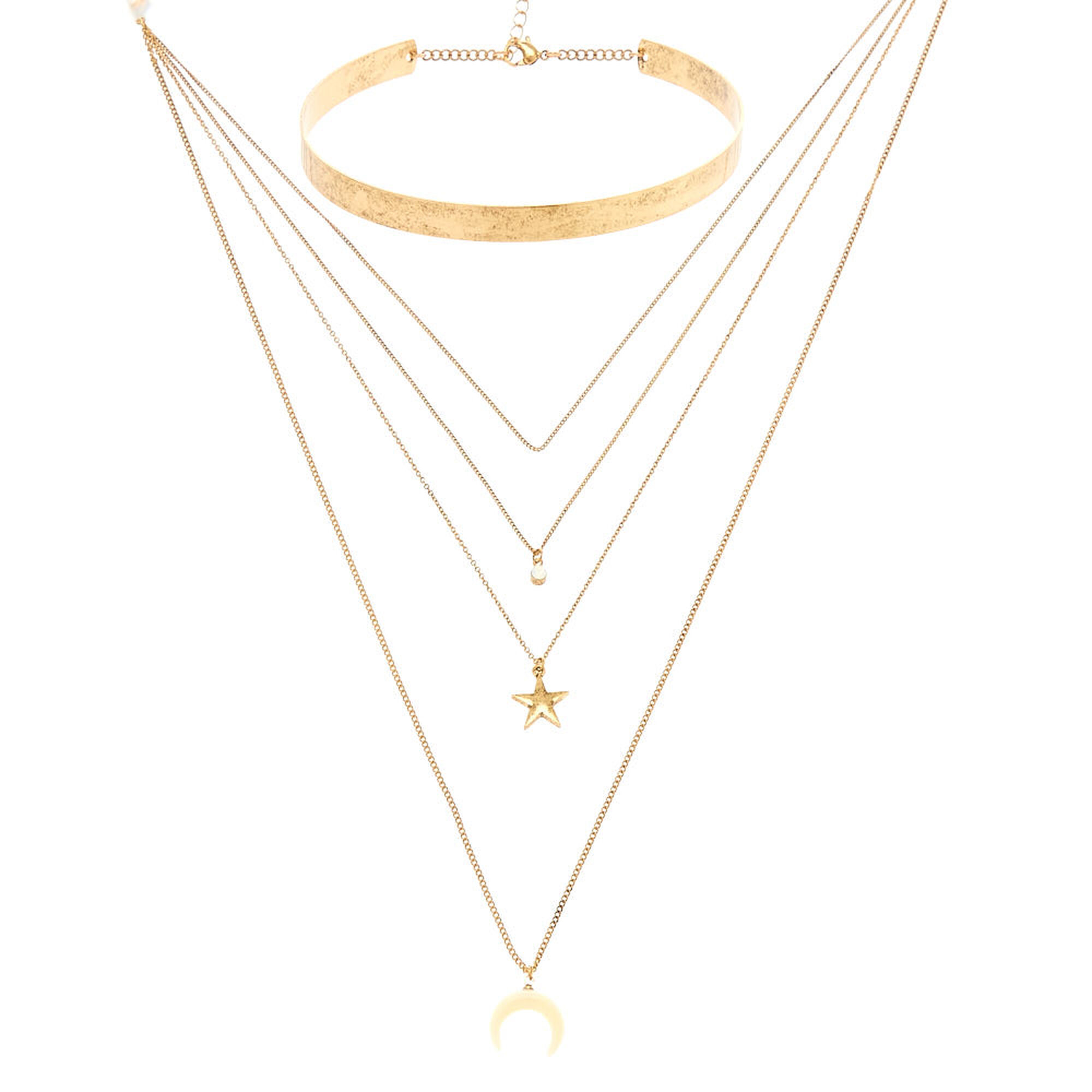 Distressed Gold Layered Choker Charm Necklace