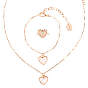 Claire's Club Rose Gold Heart Shaker Jewellery Set - 3 Pack,