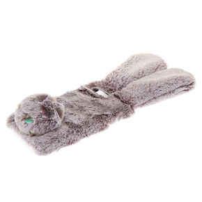Grey Faux Fur Bunny Phone Case - Fits iPhone 6/7/8/SE,