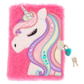 Miss Glitter the Unicorn Soft Lock Notebook - Pink,