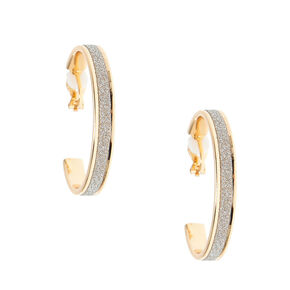 Gold 35MM Glitter Hoop Clip On Hoop Earrings - Silver,