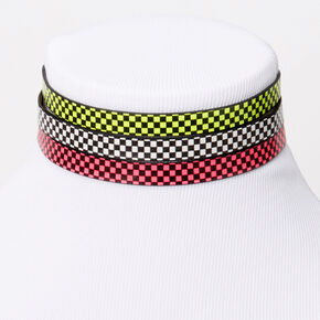 Neon Checkered Choker Necklaces - 3 Pack,