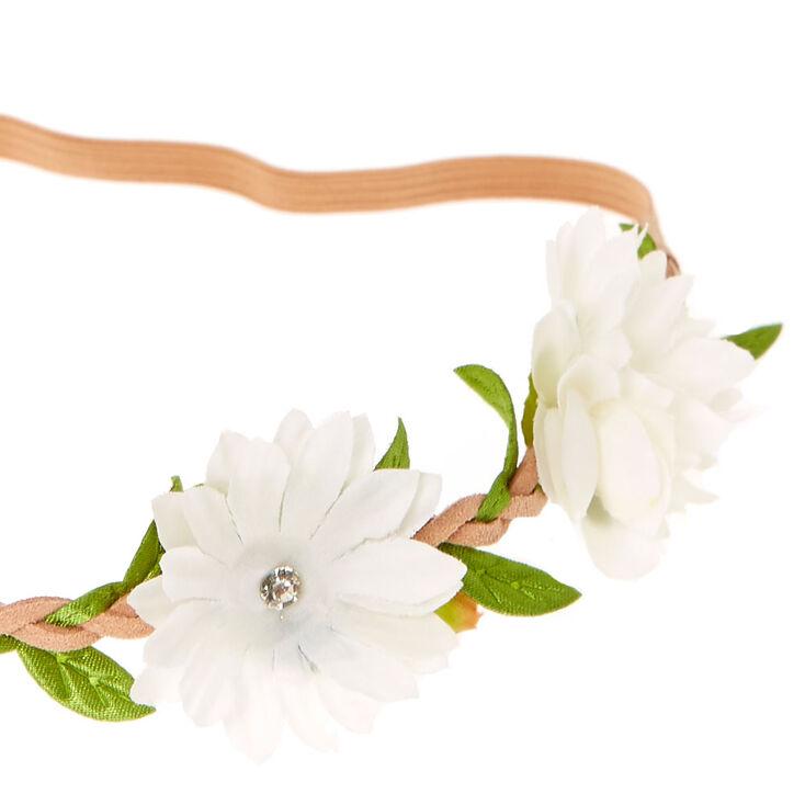 Couronne de fleurs avec marguerites - Ivoire,