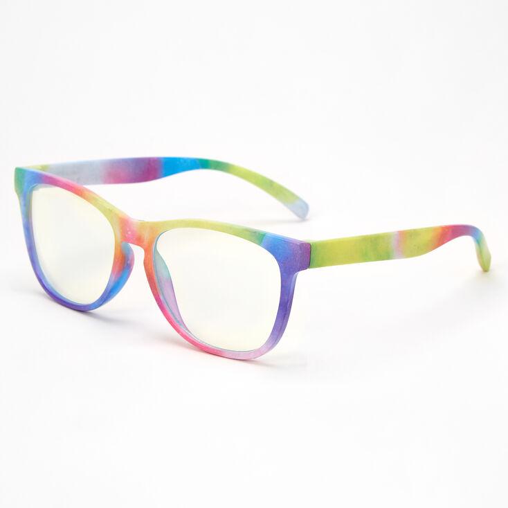 Claire's Club Solar Blue Light Reducing Retro Clear Lens Frames - Rainbow,