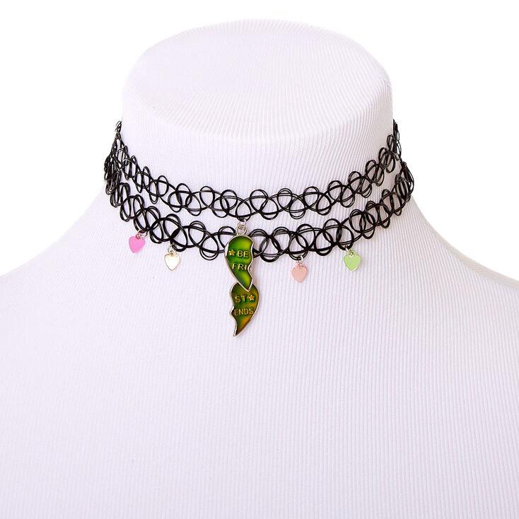 Best Friends Mood Broken Heart Tattoo Choker Necklaces - 2 Pack,